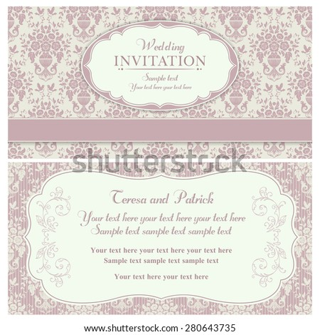 Antique baroque wedding invitation, birds and flowers, pink and beige
