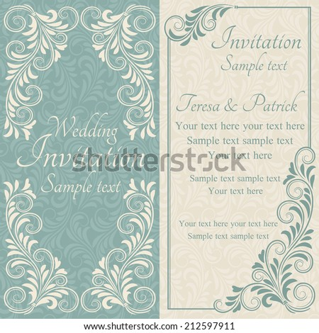 Antique baroque wedding invitation, blue on beige background