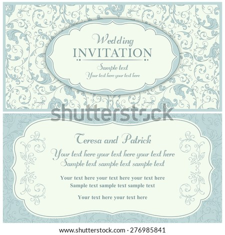 Antique baroque wedding invitation card in old-fashioned style, blue and beige