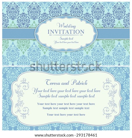 Antique baroque wedding invitation card in old-fashioned style, blue and green
