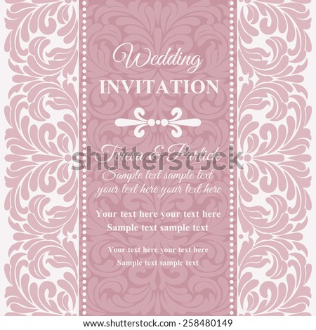 Antique baroque wedding invitation card in old-fashioned style, pink and white - stock vector