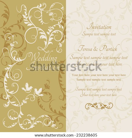 Antique baroque wedding invitation, couple of birds, yellow and beige