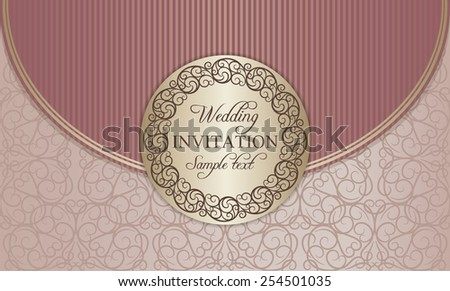 Antique baroque wedding invitation envelope, ornate round frame, gold and pink - stock vector