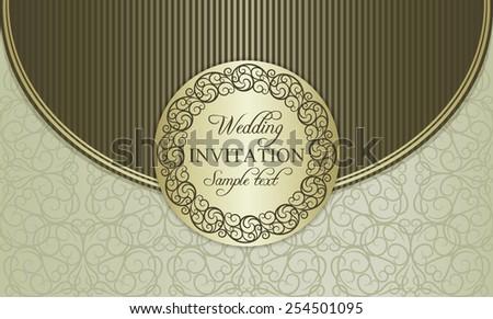Antique baroque wedding invitation envelope, ornate round frame, gold, brown and beige - stock vector