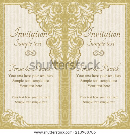 Antique baroque wedding invitation, gold on beige background - stock vector