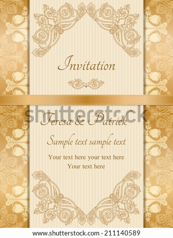 Antique baroque wedding invitation, gold orange on beige background - stock vector