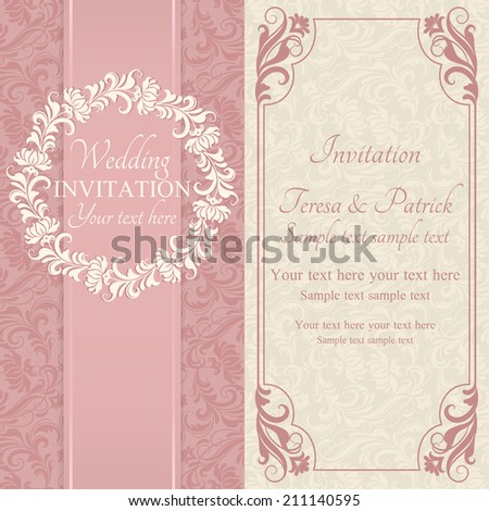 Antique baroque wedding invitation, ornate round frame, pink and beige - stock vector