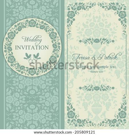 Antique baroque wedding invitation, ornate round wreath frame, couple of birds with ring, blue and beige