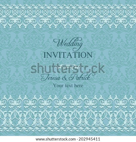 Antique baroque wedding invitation with lace, blue colour