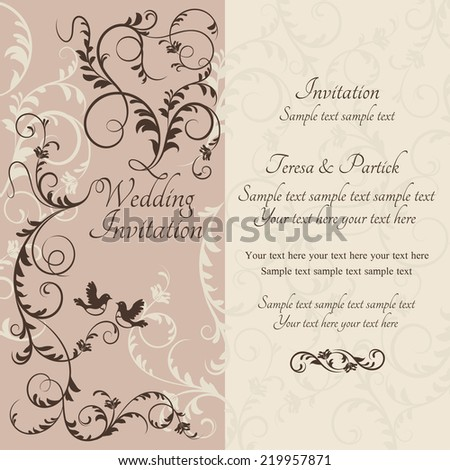 Antique baroque wedding ornate invitation, couple of birds, brown and beige