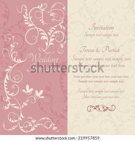 Antique baroque wedding ornate invitation, couple of birds, pink and beige