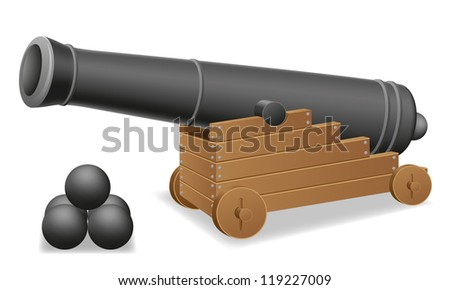 antique cannon vector illustration isolated on white background - stock vector