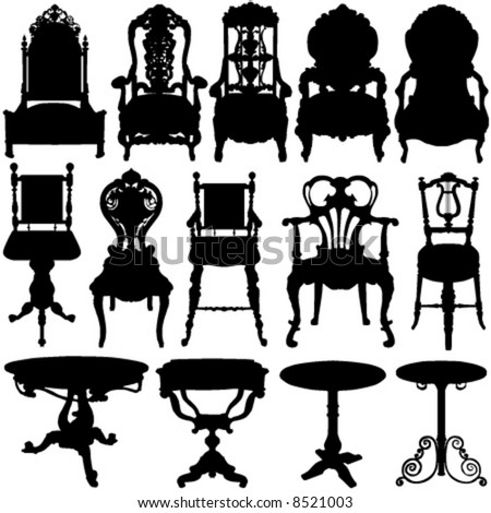 antique chair and table vector - stock vector