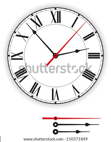 Antique Clock Face - Illustration of a antique clock face (dial) as part of an analog clock (watch) with black and red pointers. Isolated on white background. - stock vector