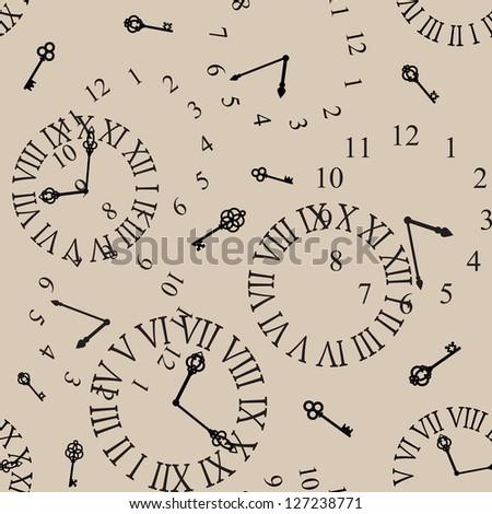 antique clock face seamless background - stock vector