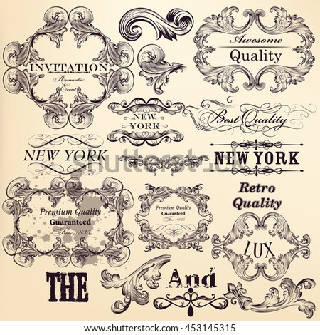 Antique collection of vector banners and ornaments in filigree vintage style. Hand drawn elements for authentic design