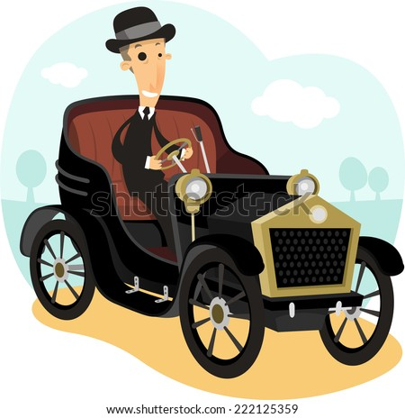 Antique Collector Car,with driver wearing a suit and bowler hat vector illustration cartoon. - stock vector
