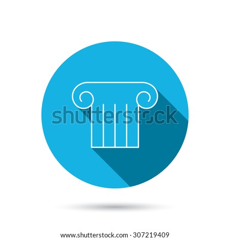 Antique column icon. Ancient museum sign. Architectural pillar symbol. Blue flat circle button with shadow. Vector - stock vector