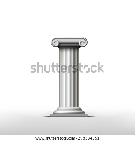 Antique column on a white background. Vector Image Stock.