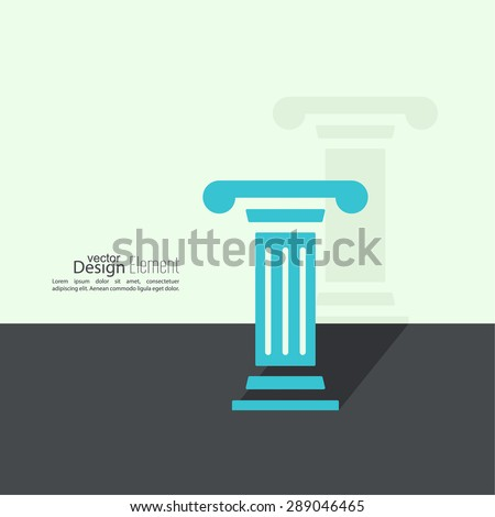 Antique column. Pedestal. The concept of stability and inviolability. Historical values. Flat design with shadow - stock vector