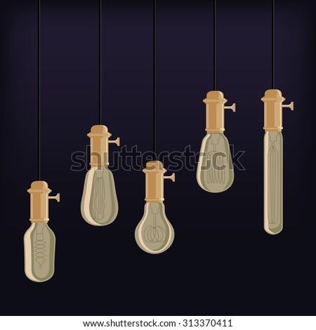 Antique Edison Light Bulbs-off - stock vector