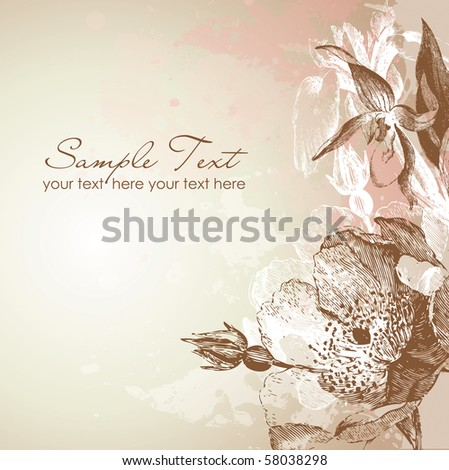 Antique floral card - stock vector