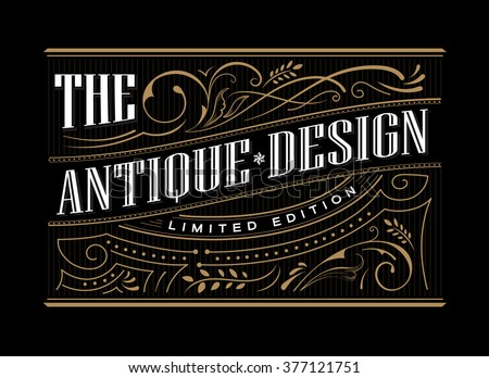 Antique frame label western hand drawn border typography engraving vintage retro vector illustration - stock vector