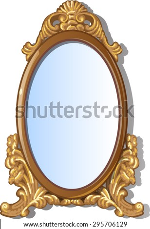 antique framed oval mirror with patterns - stock vector