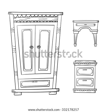 High Quality Antique Furniture Set: Closet, Dresser, Nightstand Isolated On A White  Background. Vector