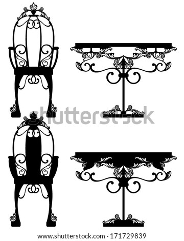 antique furniture silhouettes and detailed vector outlines - black over white - stock vector