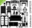Antique furniture silhouettes vector - stock photo
