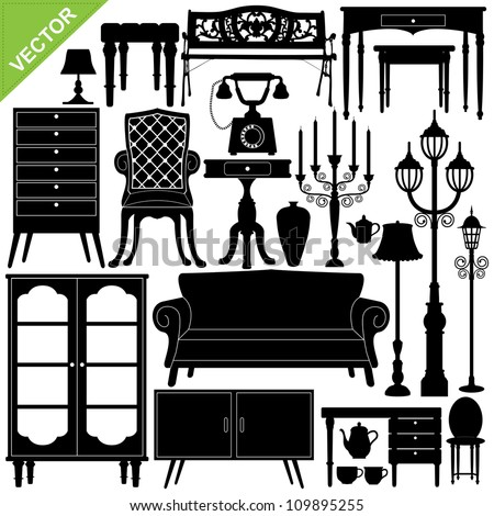 Antique furniture silhouettes vector - stock vector