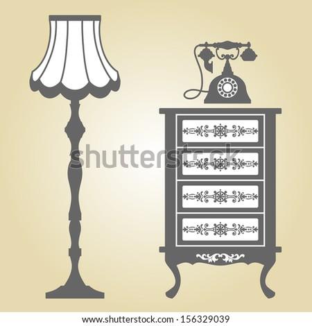 Antique Furniture. Vintage Furniture. Vector Illustration of Original Antique Furniture Collection. - stock vector