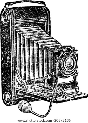 Antique, grunge camera vector. - stock vector