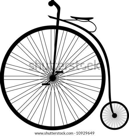 Antique highwheel bike 1885 - stock vector