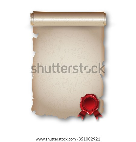 Antique historical paper scroll document with red wax seal. vector illustration
