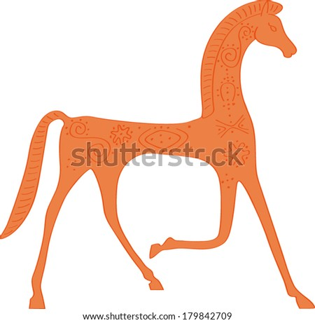 antique horse drawing - stock vector