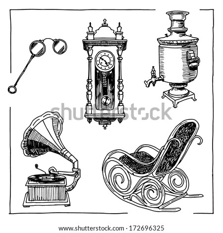 Antique interior objects drawings set on white background - stock vector