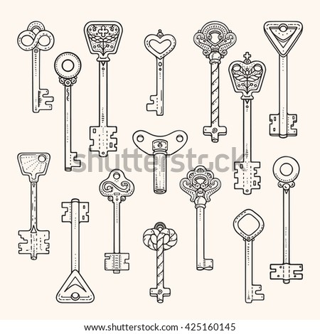 Antique keys, ancient symbols, vintage locks. Artistic collection of hand drawn design elements made with ink. For logo, banner, poster, card template. Isolated vector.
