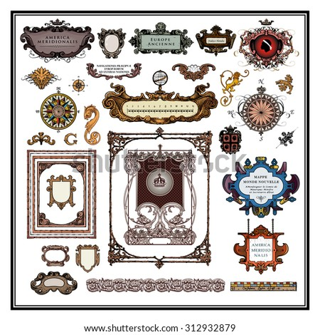 Antique map elements borders and frames - stock vector