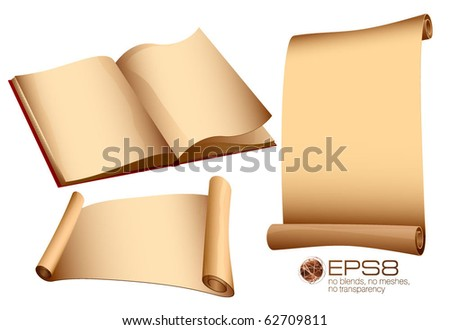Antique paper set. Vintage book and scrolls. - stock vector