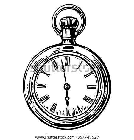 Antique pocket watch. Vector vintage engraved illustration. Black on white background. - stock vector