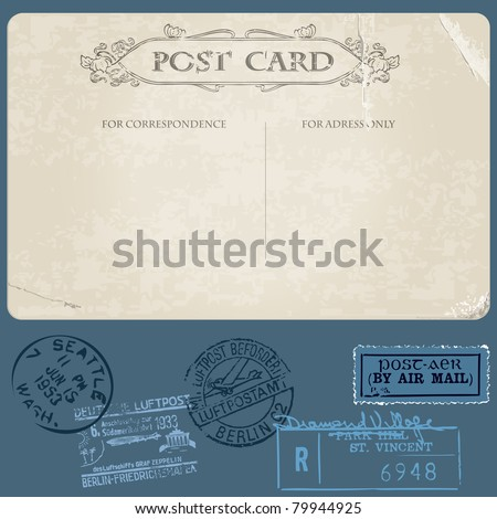 Antique postcards in vector with set of Postal stamps - stock vector