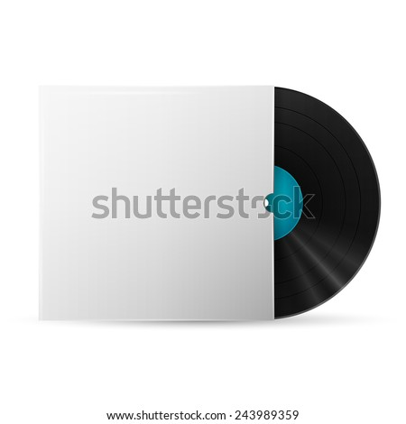 Antique Record with Sleeve isolated on white - stock vector