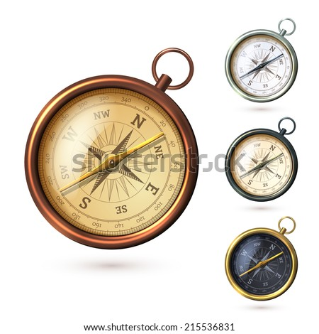 Antique retro style metal  compass set isolated on white background vector illustration - stock vector