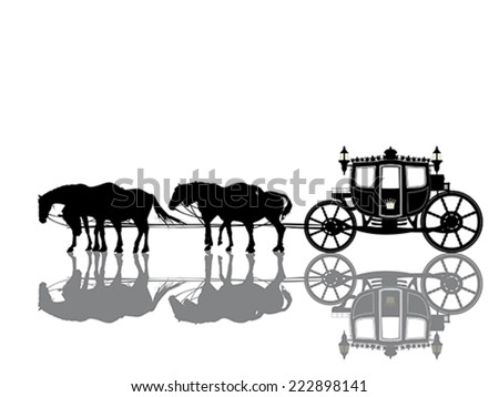 Antique royal coach with four horses - stock vector