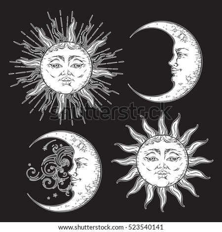 Antique style hand drawn art sun and crescent moon set. Boho design vector white isolated on black background