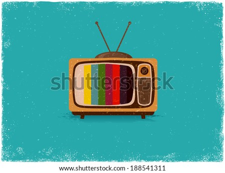 Antique television in vintage vector style - stock vector