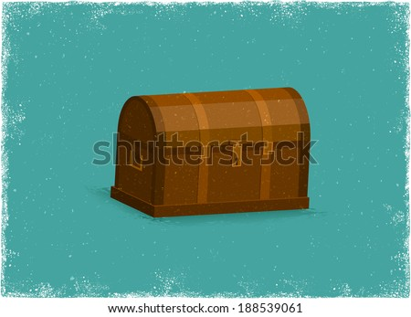 Antique Treasure Chest in vintage vector style - stock vector