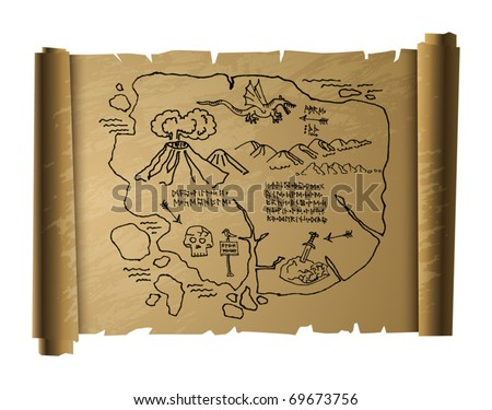 Antique treasure map, vector illustration - stock vector